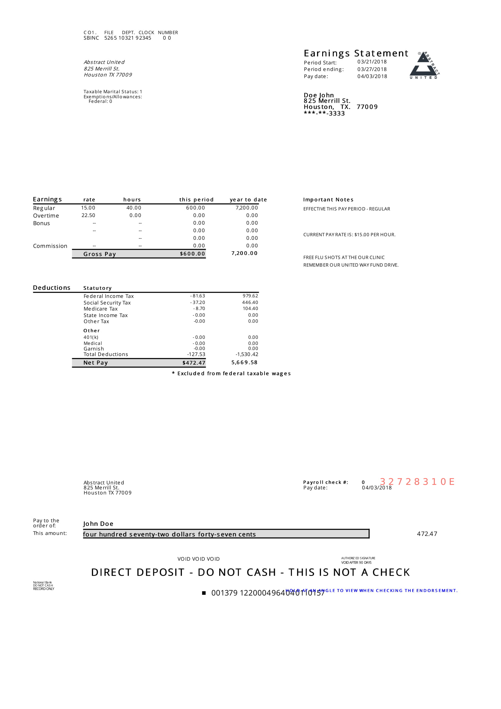 Modern Pay Stub Sample Paycheck Stub Online