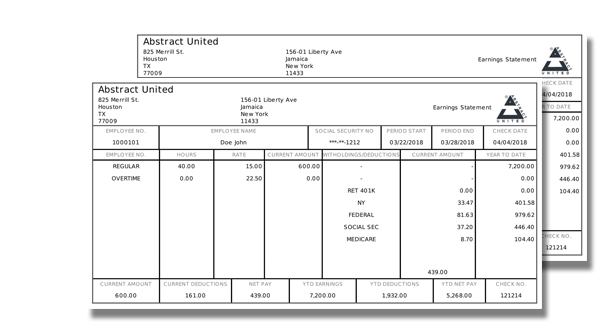 NEAT Paystub Template PayCheck Stub Online - Pay stub template with year to date